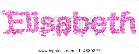 Elisabeth Female Name Set With Hearts Type Design