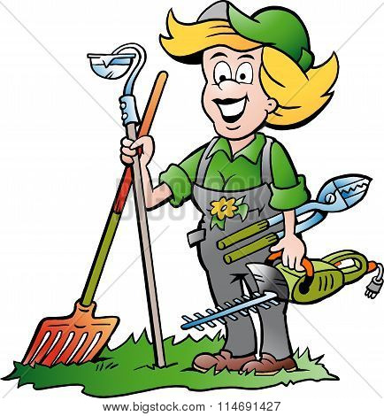 Vector Cartoon Illustration Of A Handy Gardener Woman Standing With He Garden Tools