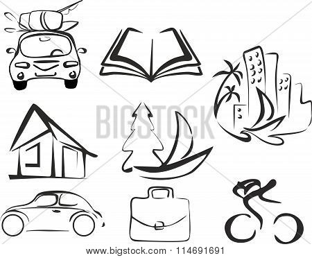 ector set of black isolated objects depicting an activity, recreation and leisure, vacations.