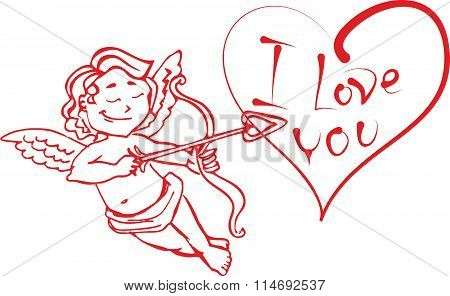 Angel Cupid with a bow and arrow shot in the heart that says I love you. The red outline