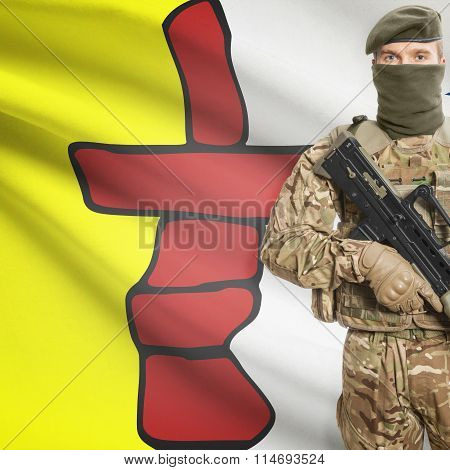 Soldier Holding Machine Gun With Canadian Province Flag On Background Series - Nunavut
