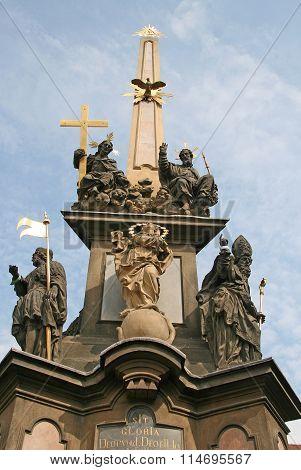Prague, Czech Republic - April 16, 2010: Holy Trinity Column (plague Column) At Lesser Town Square (