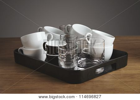 Tea Tray Full Of Clean Coffee Cups Ang Glasses