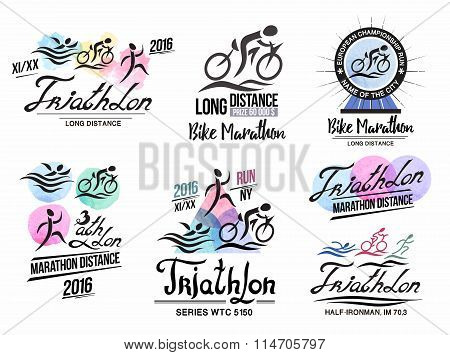 Triathlon logo. Sports logo with elements of calligraphy. Bike marathon logo.
