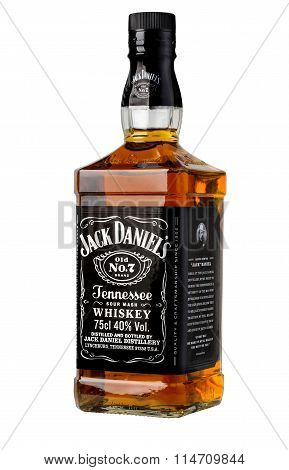 CHISINAU MOLDOVA- November 142015 : botle of Jack Daniels. Jack Daniel's is a brand of sour mash Tennessee whiskey . With clipping path