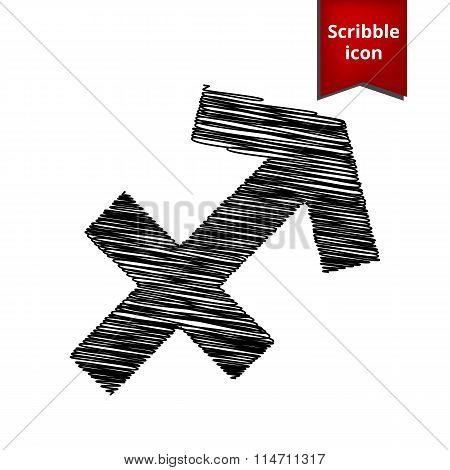 Zodiac sign Sagittarius with pen effect
