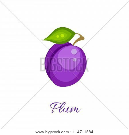 Purple plum vector icon.