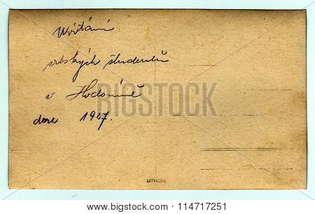 Back of photo. Text in Czech - Welcome of Serbian students in Hodonin 1927