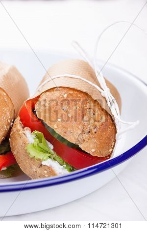 Vegetarian sandwiches with red paprika cucumber letucce and cottage cheese