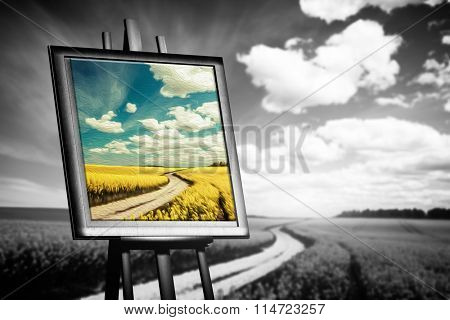 Landscape picture painted on canvas against black and white field. Concept of art, new world, hope.