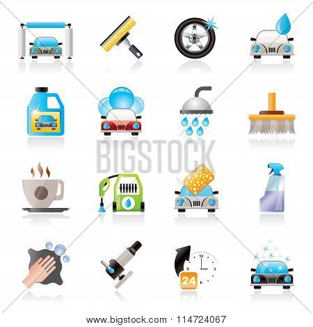 Professional car wash objects and icons