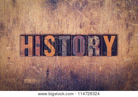 History Concept Wooden Letterpress Type