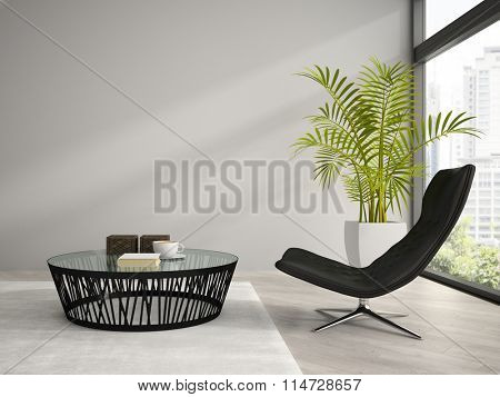 Part of  interior with black armchair 3D rendering