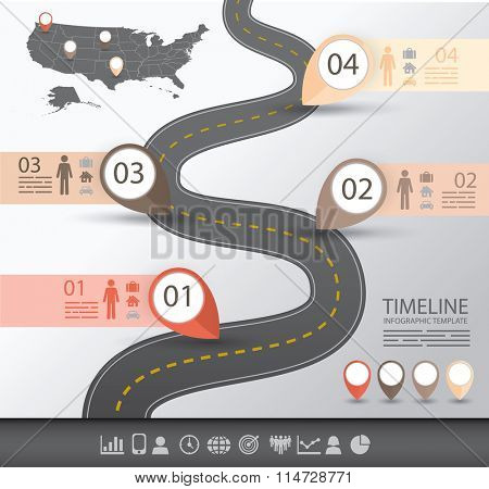 Timeline Infographics template with a road and navigational pointers and a map of america
