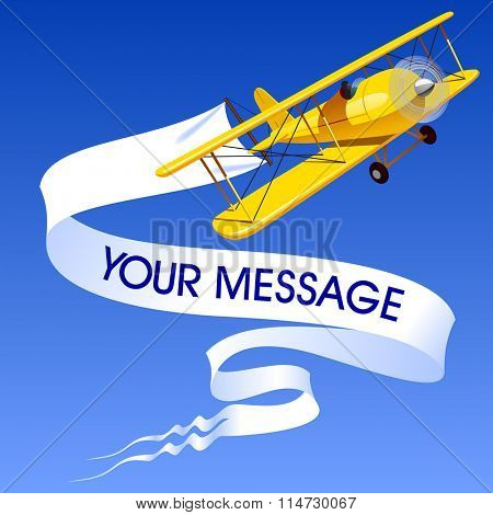 Vintage yellow airplane with blank banner in the blue sky. Vector illustration