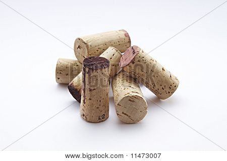 Wine Corks On A White Background