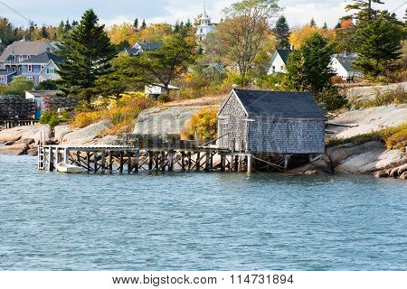 Fishing Village with Fall Colors in Maine