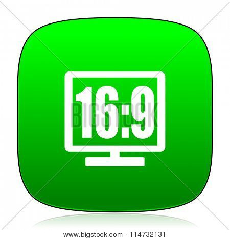 16 9 display green icon for web and mobile app