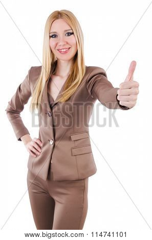 Beautiful businesslady in elegant suit isolated on white