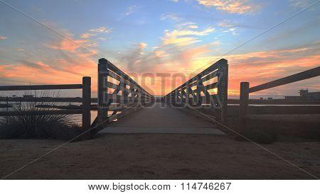 Wooden Boardwalk at sunset