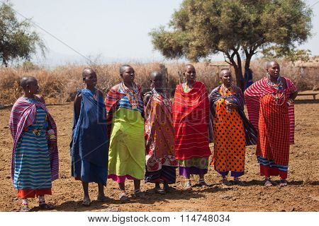 Masai women singing in the village