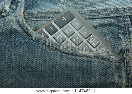 Calculator in jeans pocket