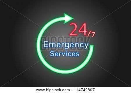 Label Neon 24/7 Emergency Services