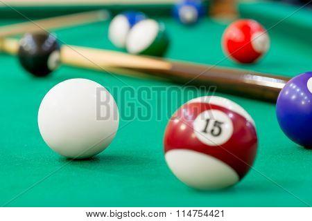 Horizontal Photo Of Billiard Balls On Green Baize