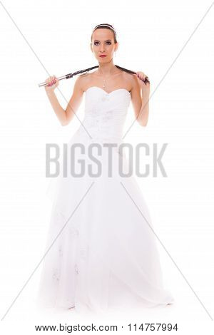 Bride White Gown Holds Black Leather Flogging Whip
