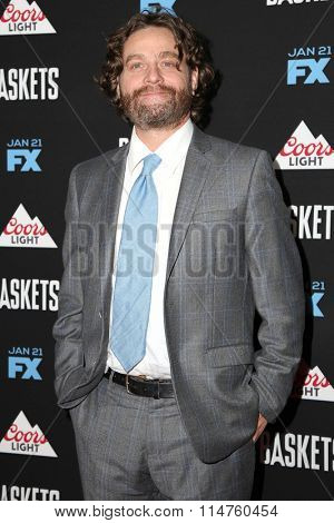 vLOS ANGELES - JAN 14:  Zach Galifianakis at the Baskets Red Carpet Event at the Pacific Design Center on January 14, 2016 in West Hollywood, CA