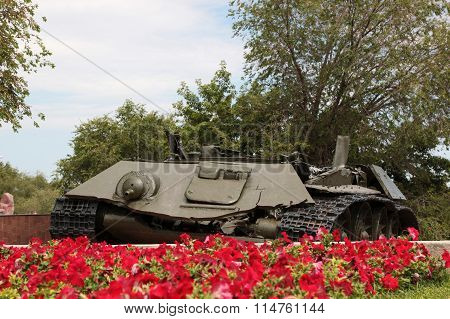 The Remains Of The Battle Tank T-34. Volgograd, Russia
