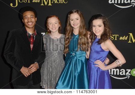 vLOS ANGELES - JAN 14:  Judah Bellamy, Abby Donnelley, Olivia Sanabia, Aubrey Miller at the Just Add Magic Amazon Premiere Screening at the ArcLight Theaters on January 14, 2016 in Los Angeles, CA