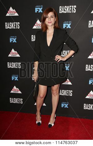 vLOS ANGELES - JAN 14:  Aya Cash at the Baskets Red Carpet Event at the Pacific Design Center on January 14, 2016 in West Hollywood, CA
