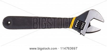 Black Steel Adjustable Spanner Isolated