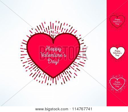 Set of vector valentines hearts on tribal outburst background. Love and romance design element