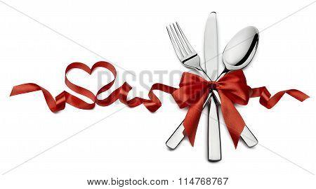 Silverware In Red Valentine Ribbon Heart Shape Horizontal Isolated