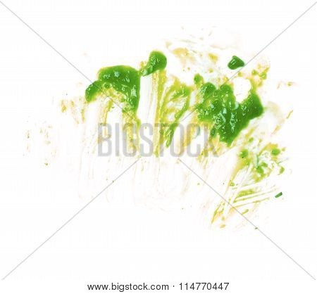 Green mucus slime stains isolated