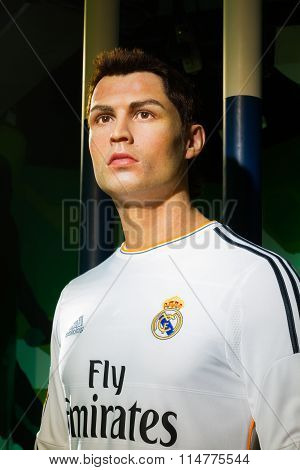Bangkok, Thailand - December 19: A Waxwork Of Cristiano Ronaldo On Display At Madame Tussauds On Dec