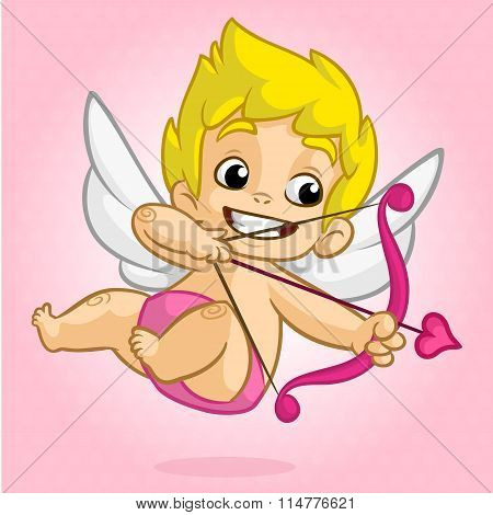 Funny cupid with bow and arrow. Illustration of a Valentine's Day. Vector