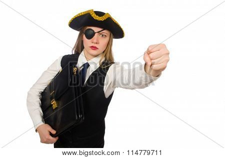 Pretty pirate girl holding bag isolated on white