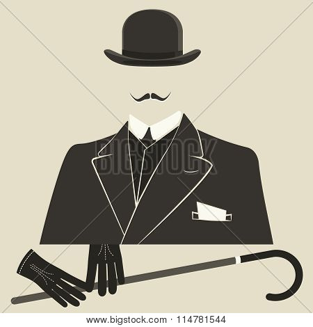 Old style dressed Man in a bowler hat