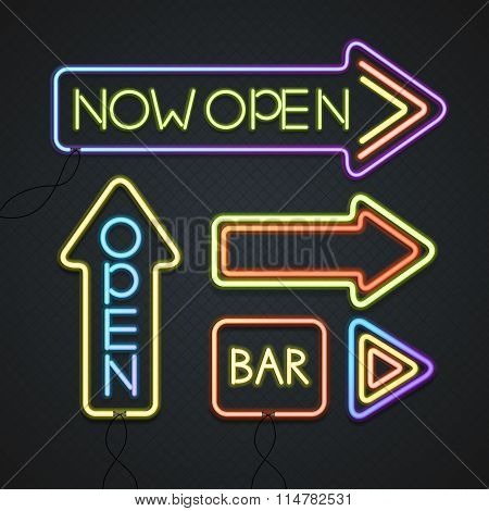 Glowing Neon Signs. Vector