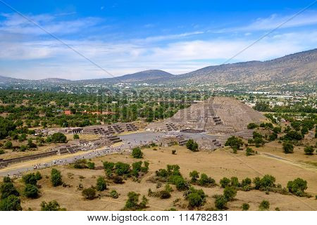 Scenic View Of Pyramid Of The Moon In Teotihuacan, Near Mexico City