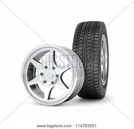 Car Wheel And Rims. Isolated On White Background