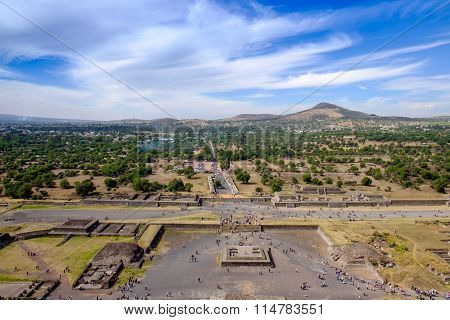 Scenic View From Pyramid Of Sun In Teotihuacan, Near Mexico City