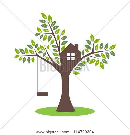Vector Simple Tree House with Swing Illustration