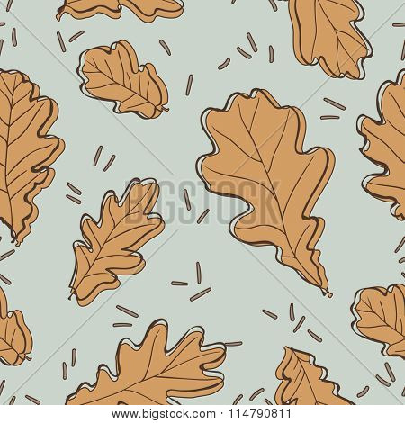 Seamless pattern with oak leaves. Vector illustration.