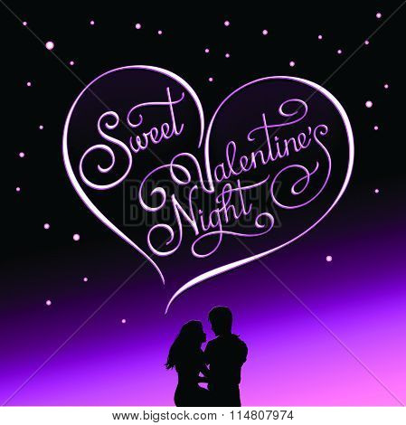 Calligraphic Postcard For Valentine's Day And Valentine's Night.