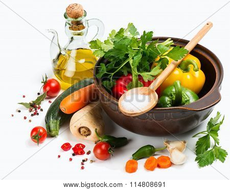 Colorful Vegetables And Cooking Pot
