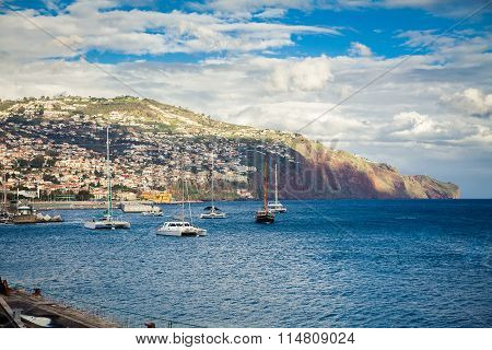 Yachts Floating In The Harbour Of Funchal